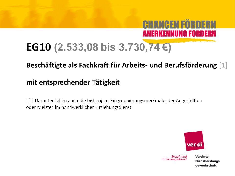 EG10 (2.533,08 bis 3.730,74 €) Beschäftigte als Fachkraft für Arbeits- und Berufsförderung [1] mit entsprechender Tätigkeit.